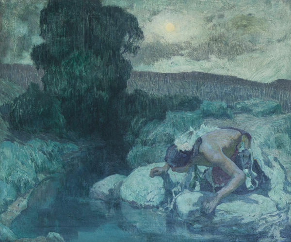 E.I. Couse, Indian Boy at Spring, oil, 24 x 29. Estimate: $100,000-120,000.