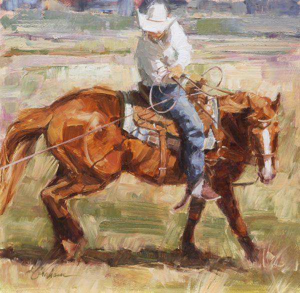 Lindsey Bittner Graham, Cow Sense, oil, 12 x 12.