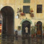 James Crandall, Piazza Anfiteatro in Rain, No. 2, oil, 24 x 36.
