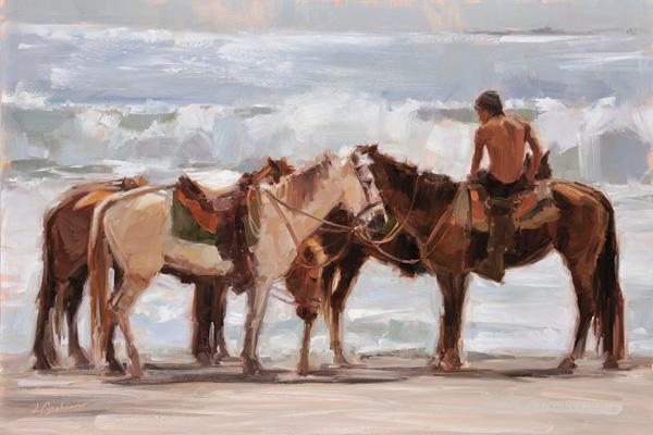 Lindsey Bittner Graham, Criollo Horses: Manuel Antonio, Costa Rica, oil, 16 x 24.