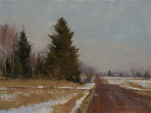 Marc Hanson, Crossroad, oil, 6 x 8.