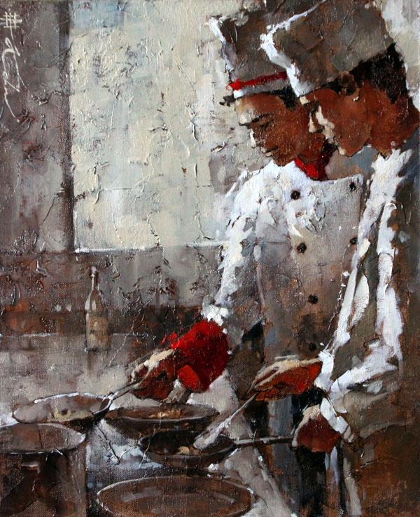 Andre Kohn, Cucina Italiana, oil, 17 x 14.