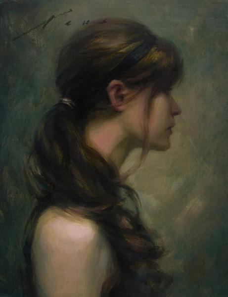 Vincent Xeus, Curls, oil, 10 x 8.