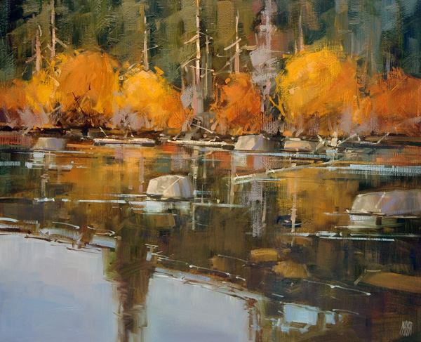 David W. Mayer, Autumn at Hessie Lake, oil, 16 x 20.