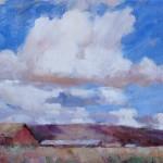 Dale Landrum, Cumulus Skies, oil, 9 x 12.