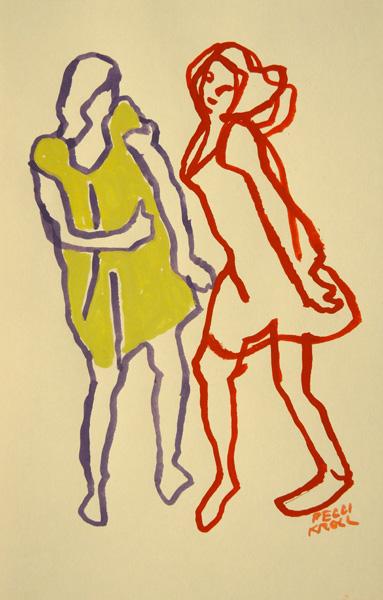 Peggi Kroll-Roberts, Dancing figures, gouache, 8 x 6.