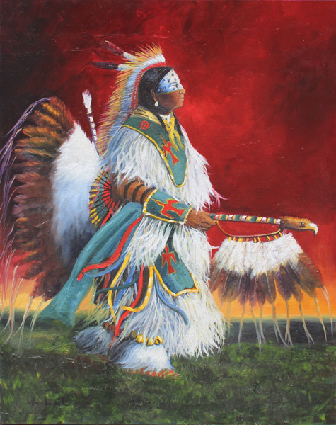 Raymond Nordwall, Dancing Traditional, oil, 40 x 30.