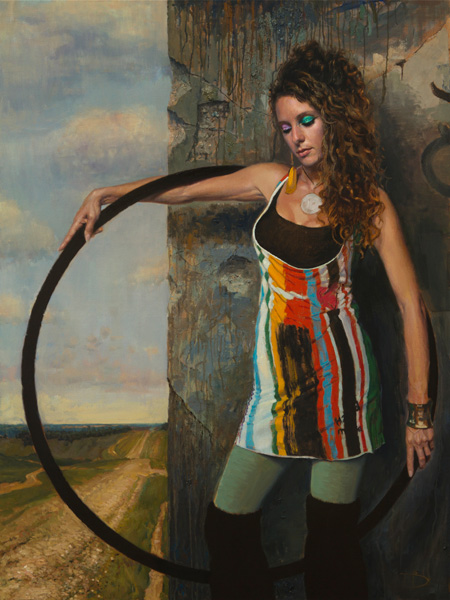 Daniel Bilmes, Hoola Hoop Girl, oil, 36 x 48.