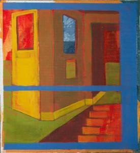 Daniel Granitto, Yellow Door and Cardboard Walls, acrylic, 14 x 14.