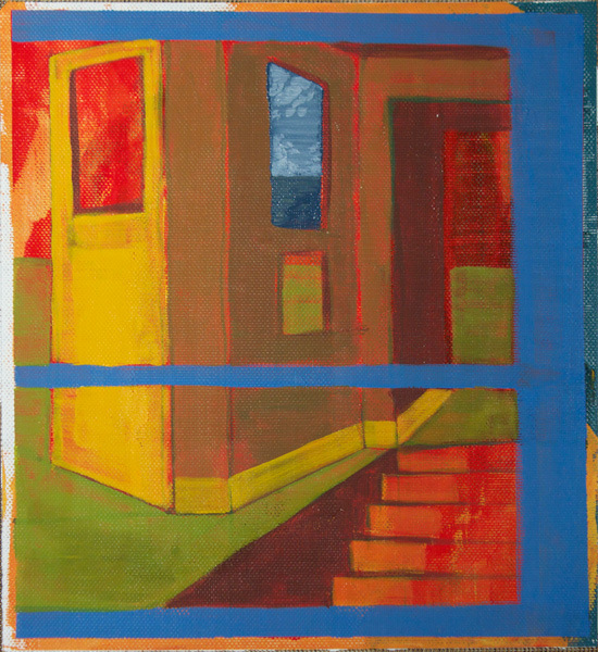 Daniel Granitto, Yellow Door and Cardboard Walls, acrylic, 14 x 14.