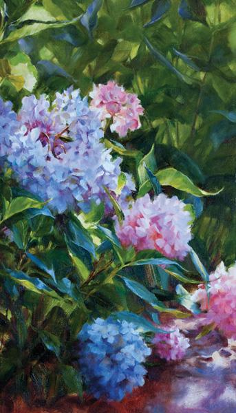 Darianne Whitt, Hydrangeas, oil, 12 x 24.