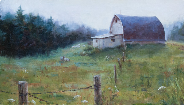 Darianne Whitt, Misty Morning, oil, 10 x 20.