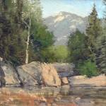 David Harms, Riverside Rocks, oil, 11 x 14.