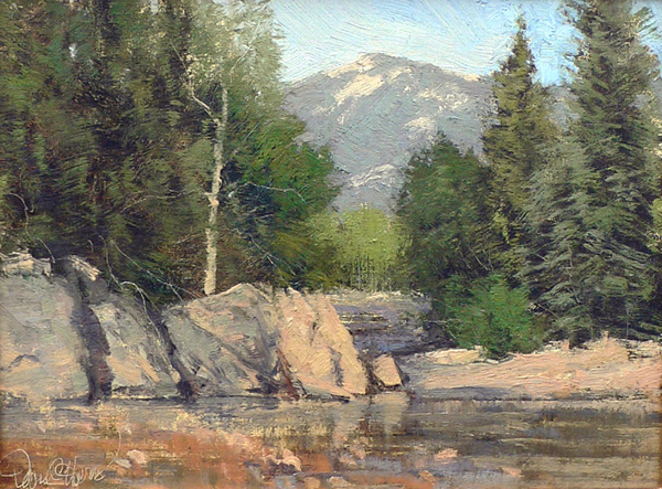 David Harms, Riverside Rocks, oil, 11 x 14.