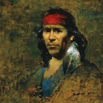 David Leffel, Pueblo Man with Eagle Feather, oil, 19 x 16.