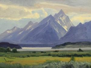 David Schwindt, Jackson Lake and Grand Tetons, oil, 9 x 12.