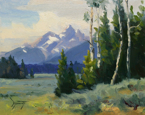 David Schwindt, Teton Aspen, oil, 8 x 10.