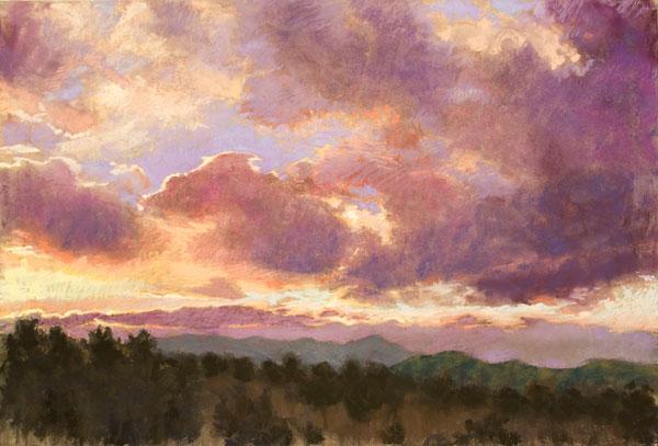 Nancy Silvia, Day's End, pastel, 24 x 26.