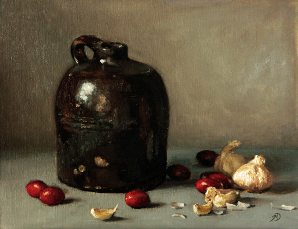 Michael DeVore, Tomatoes and Garlic, oil, 11 x 14.