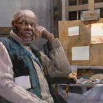 Dean Mitchell, Artist at Work, watercolor, 12 x 18.