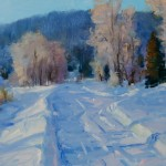 Tim Deibler, Snow at Two Rivers, oil, 8 x 10.