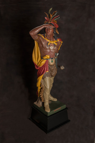William Demuth, Captain Jack, zinc-cast cigar-store Indian, H76. Estimate: $30,000-35,000.