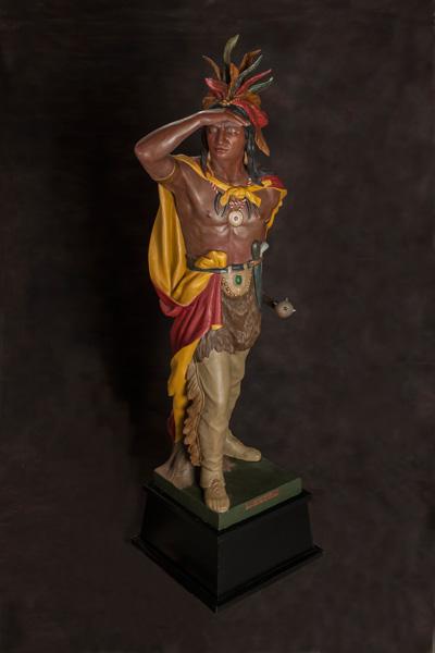 William Demuth, Captain Jack, zinc-cast cigar-store Indian, H76. Estimate: $30,000-35,000.