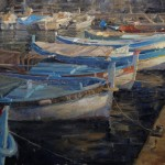 Derek Penix, Fishing Boats Docked in St. Jean, oil, 24 x 36.