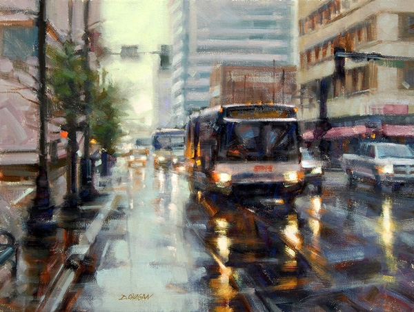 Desmond O'Hagan, Denver Rain, oil, 18 x 24.