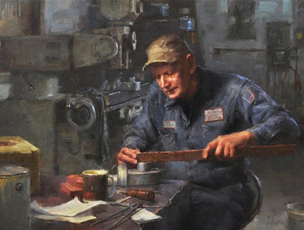 Jacob Dhein, The Pattern Maker, oil, 23 x 30.