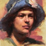 Jacob Dhein, Portrait of Girl with Blue Hat, oil, 18 x 14.