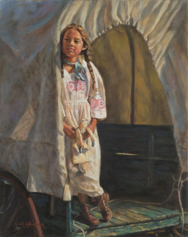 Judith Dickinson, Headin' West, oil, 20 x 16.