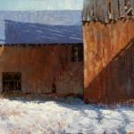 Jerolyn Dirks, Barn Shadows, oil, 30 x 40.