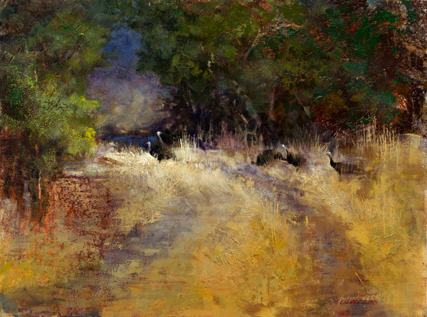 Jerolyn Dirks, Turkey Trot, oil, 12 x 16.