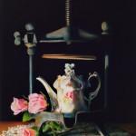 Kathie Disner, Tea Totaller, oil, 24 x 14.