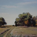 Dorothy Morgan, Grass Road and Trees, Late Summer, oil, 18 x 24.