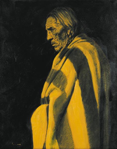 Doug Levitt, Many Shots circa 1919, oil, 30 x 24.