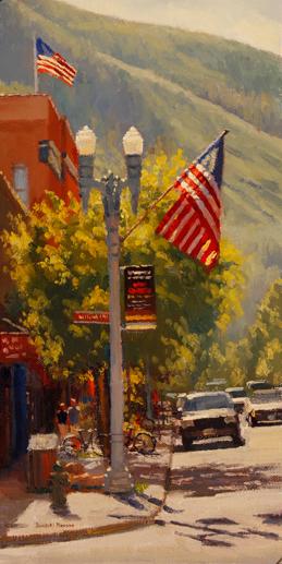 Douglas P. Morgan, Festive Street, oil, 16 x 8.