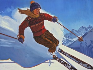 Dennis Ziemienski, Downhill Skier, oil, 36 x 48.