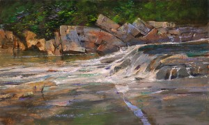 Albert Handell, Downstream, oil, 18 x 30.