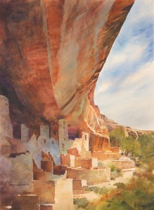David Drummond, Shady Shelter, watercolor, 29 x 22.