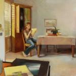 Kari Dunham, His Letter Came on a Tuesday, oil, 30 x 45.