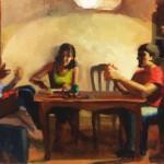 Kari Dunham, The Table, oil, 12 x 18.