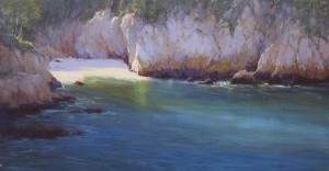 Kathleen Dunphy, Blue Fin Cove, oil, 15 x 30.