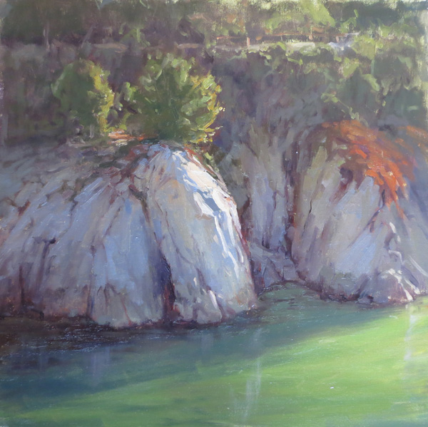 Kathleen Dunphy, China Cove, oil, 16 x 16.