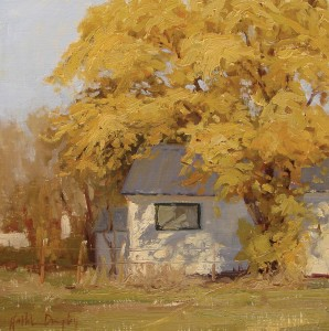 Kathleen Dunphy, Dappled Light, oil, 12 x 12.