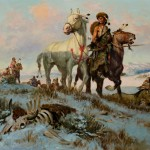 Charlie Dye, Leading Their Buffalo Horses, oil, 20 x 30.