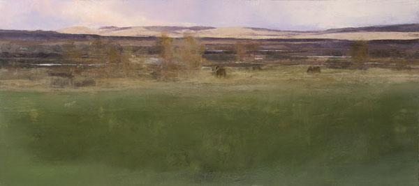 East Pasture, oil on panel, 16 x 36.