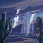 Ed Mell, Cactus Storm, oil, 12 x 12.