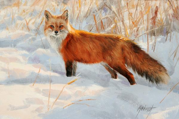 Edward Aldrich, Sun on Snow, oil, 8 x 12.